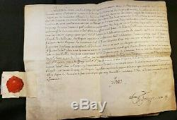 Louis XV Lot Of Signed Documents On Parchment Connected With A Superb Seal 1773
