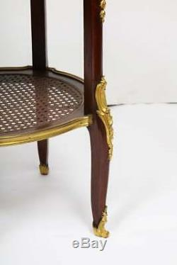 Louis XV Style French Ormolu-Mounted Mahogany Table with Marble Top, circa 1880
