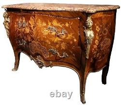 Louis XV Style Marquetry Inlaid Gilt Commode by Robert Horner