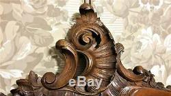 Louis XV flower shell wood carving pediment Antique french architectural salvage