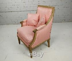 Louis XVI 18th century Child Bergere Chair withPink pinstriped Upholstery