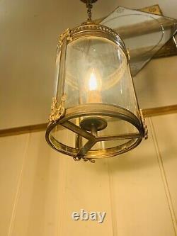 Louis XVI Bronze & Glass French Empire Lantern, Antique Hall Light