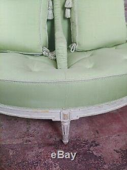 Louis XVI style Fabulous painted & upholstered Round Settee