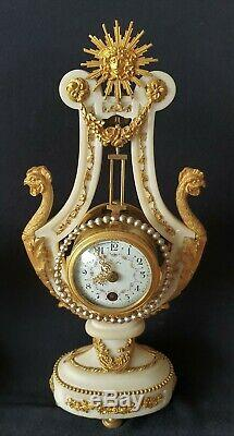 Lyre Clock Louis XVI Style Stunning Candelabras Mystery Clock Antique French