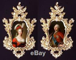 Marie Antoinette and Louis XVI (red) in Baroque frame. French Royal Wall decor