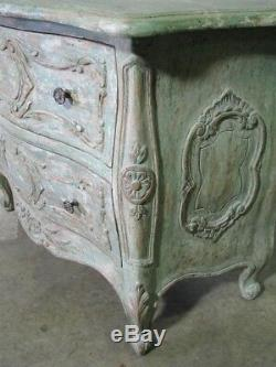 Minton Spidell Louis XV Distressed French Provincial Style 2 Drawer Stand Mint