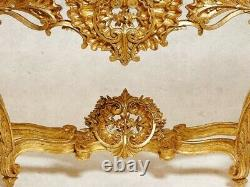 Monumental 19th Century Rococo & Louis XV Detailed Giltwood Marble Console Table