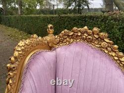 New French Louis XVI Style Bench Settee in Pink