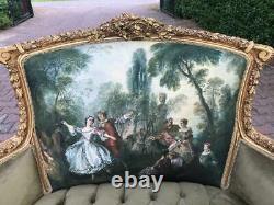 New French Louis XVI Style Corbeille Sofa in Gobelin with Velvet