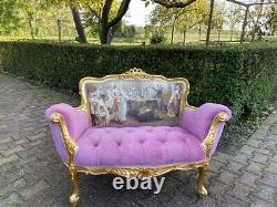 New French Louis XVI Style Settee in Pink Velvet and Gobelin