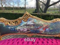 Old French Louis XVI Style Sofa in Gobelin and Fuchsia Velvet