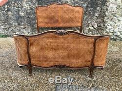Original Antique rare French cane Louis bed