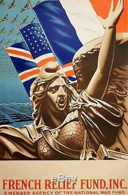 Original Vintage WWII Poster French Relief Fund Inc by Louis Fernez c1943 Allies