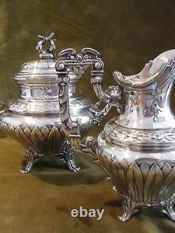 Outstanding french sterling silver tea coffee set Louis XVI st E Puiforcat Nap 3