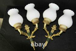 PAIR French Empire white louis XV glass shades Bronze swan wall lights sconces