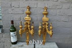 PAIR French wood carved gold gilt louis XVI sconces wall lights 1950