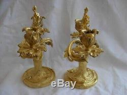 PAIR OF ANTIQUE FRENCH GILT BRONZE CANDLE HOLDERS, LOUIS XV STYLE, EARLY 20th