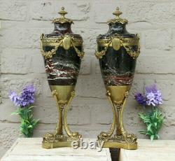 PAIR antique French Marble Louis XVI guirlandes Dolphin bronze base urns vases