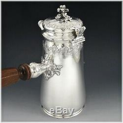 PUIFORCAT Antique French Sterling Silver Louis XV st. Chocolate Pot with Muddler