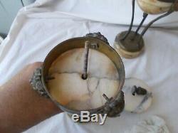 Pair Antique French Bronze & Marble Cassolettes Louis XVI Style Mantle Clock