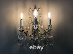 Pair Antique French Crystal & Brass Sconces Three Light Louis XVI Style Wired