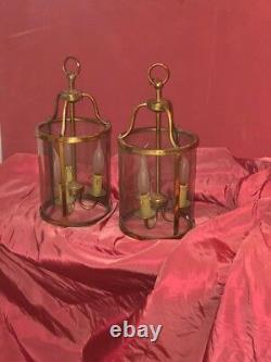 Pair Antique French Gilded Bronze Lanterns PRICE CUT LOUIS XIV Nice Patina
