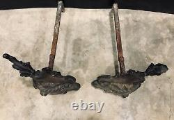 Pair Antique French Louis XV Rococo Style Bronze Brass Acanthus Andirons Vintage
