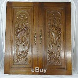 Pair Antique French Solid Oak Carved Wood Door/Panel Ribbon Louis XVI