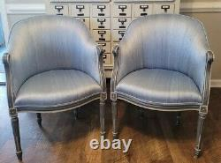 Pair Blue Barrel Back French Louis XVI Slipper Accent Chairs Shabby Chic Country