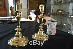 Pair Elegant French Louis XV Brass Bronze Candlesticks Peened Stem C. 1750
