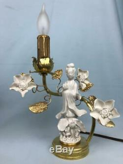 Pair French Chinoiserie Rococo Louis XV Bronze Ormolu Porcelain Boudoir Lamps