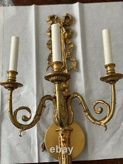 Pair French Louis XV Style Dore Bronze Brass Wall Sconces 3 Arm Ribbon Ornate