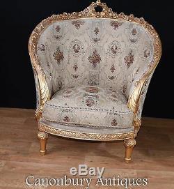 Pair French Louis XVI Tub Chairs Gilt Arm Chair