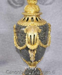Pair Louis XVI Candelabras Marble Urns Gilt Ormolu Candles French