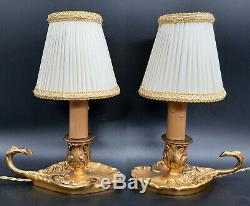 Pair Of Bedside Lamps Louis XV Style Hettier Vincent Bronze French Antique