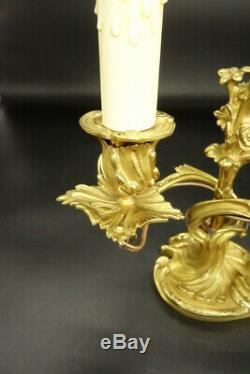 Pair Of Candleholders Lamps, Louis XV Style, Era 19th Bronze French Antique