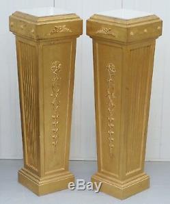 Pair Of French 19th Century Gilt Wood Louis XVI Carrara Marble Pedestal Columns