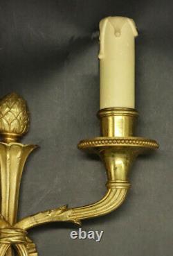 Pair Of Sconces Louis XVI Style Bronze French Antique