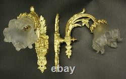Pair Of Sconces, Louis XVI Style, Early 1900 Bronze & Glass French Antique