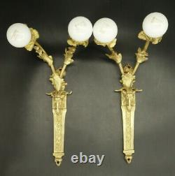 Pair Of Sconces, Ram Heads, Louis XVI Style End 19th Bronze French Antique