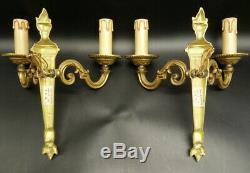 Pair Of Sconces, Torches Decor, Louis XVI Style Bronze French Antique