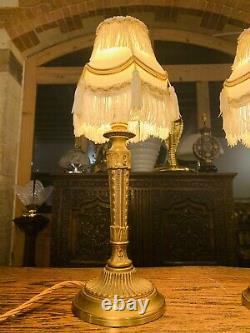 Pair Of Solid Bronze Rococo Brass Table Lamps, Rewired, Louis XVI French Empire