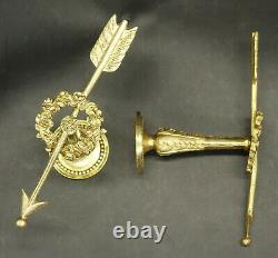 Pair Of Tie Backs, Arrows, Louis XVI Style Era 19th Bronze French Antique