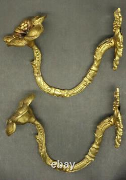 Pair Of Tie Backs, Flowers, Louis XVI Style Era 19th Bronze French Antique
