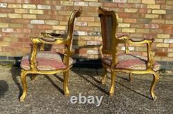 Pair Of Vintage French Louis XVI Style Gilt Wood Armchairs Chairs C1950/60