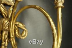 Pair Sconces, Hunting Horns & Tassels, Louis XVI Style Bronze French Antique