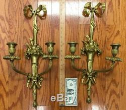 Pair antique Wall sconces french Ormolu floral vase STERLING BRONZE Louis XVI