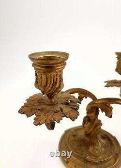 Pair of French Antique Bronze Louis XV Candleholders Candlesticks
