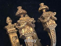 Paire de Patère Bronze Doré XIX ème Siècle Louis XVI Antique French 19th