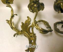 Pr Antique Vtg French Bronze Brass Wall Sconces Candleholders ROCOCO Louis XV